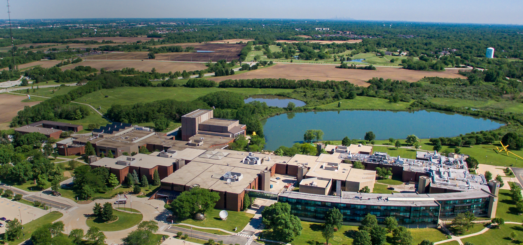 Aerial view of Governors State University and surrounding community