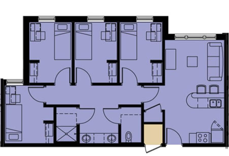 Four Bedroom Apartment - Single Occupancy Bedrooms (37 units; 148 beds)