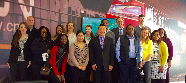 GSU students and members of the International Business Club posing at  the offices of Canadian National in Homewood