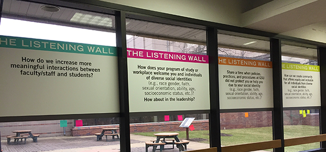 Picture of the listening Wall placards with questions and answers printed on them.