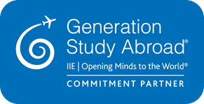 Blue logo badge for Generation Study Abroad that reads 'IIE   Opening Minds to the World' and has the footer, 'Commitment Partner.'
