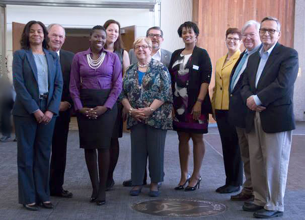 GSU Board of Trustees, Dr. Elaine P. Maimon, and Provost Deborah Bordelon in the Hall of Governors